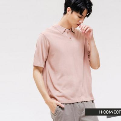 H:CONNECT 韓國品牌 男裝 -素色V領排扣針織POLO-粉