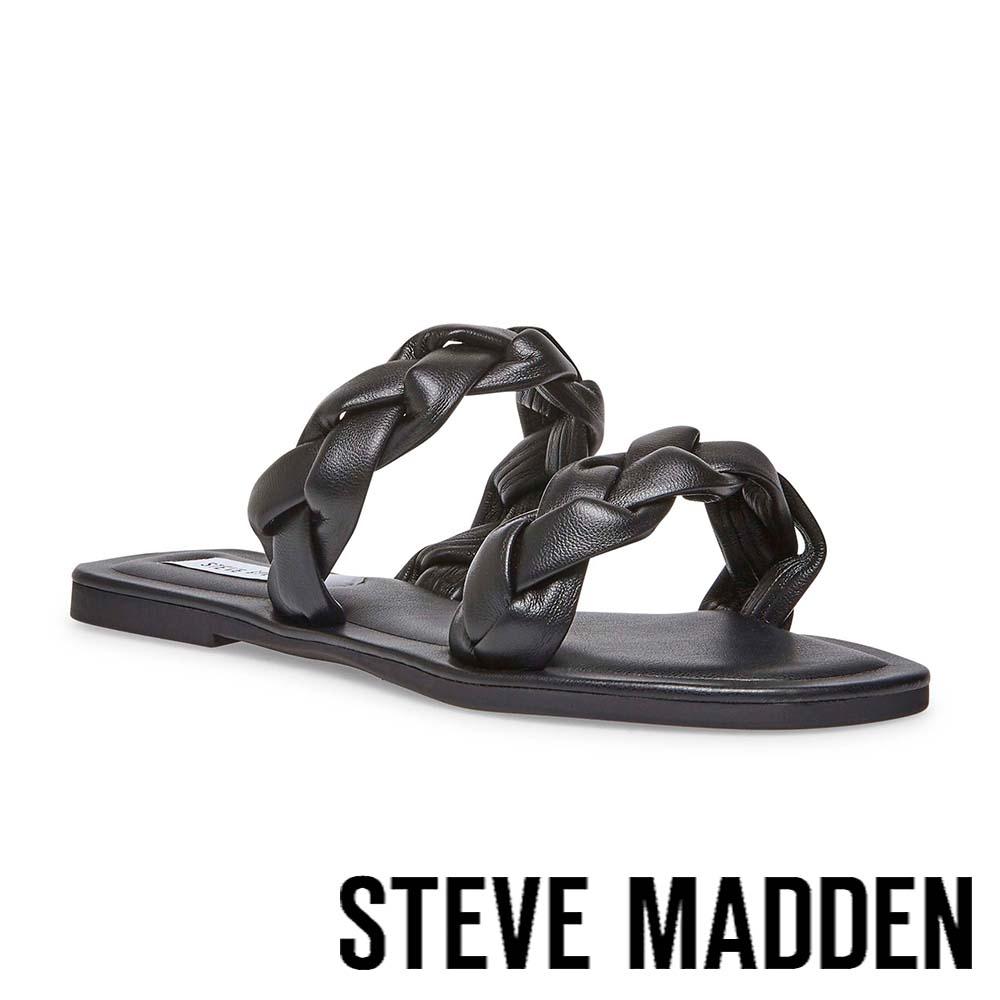 STEVE MADDEN-ALONNA 麻花編雙帶涼拖鞋-黑色
