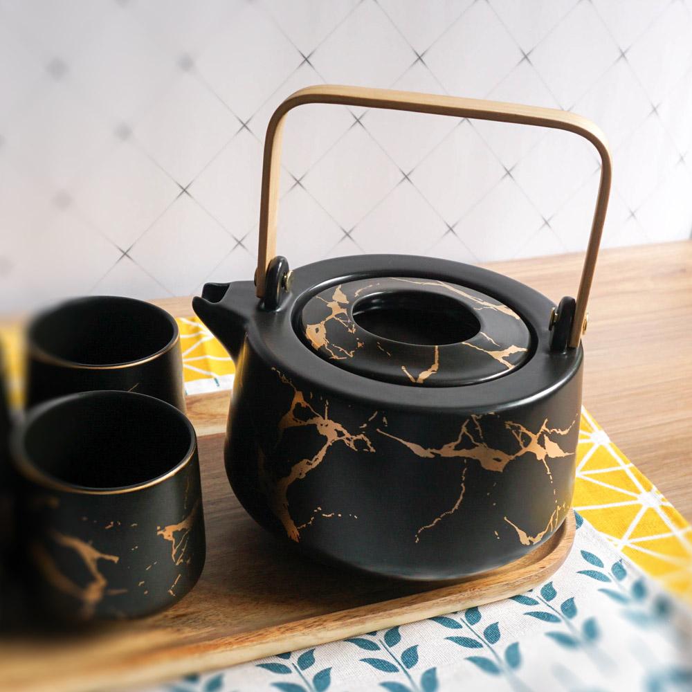 Homely Zakka 北歐時尚大理石陶瓷茶壺托盤組(黑色)