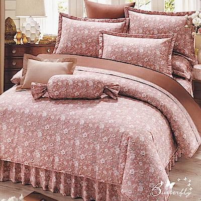 BUTTERFLY-台製40支紗純棉加高30cm薄式單人床包+單人鋪棉兩用被-玫瑰園-粉