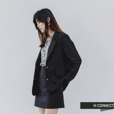 H:CONNECT 韓國品牌 女裝 -俐落大翻領西裝外套-黑