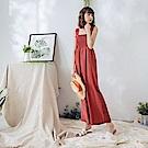 純色平領鬆緊造型連身寬褲-OB嚴選