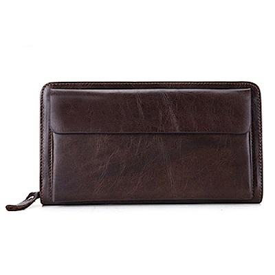 米蘭精品 手拿包真皮包包-歐美復古大容量長款男皮件情人節生日禮物73lu24