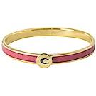 COACH C字LOGO金蔥裝飾邊細版手環(紅/金)