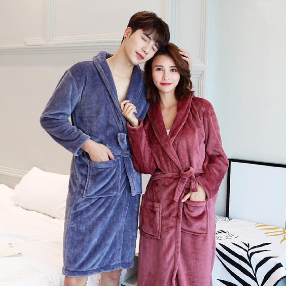 冬季爆品/情侶款/韓式加長加厚法蘭絨親膚睡袍 ANDYMAY2