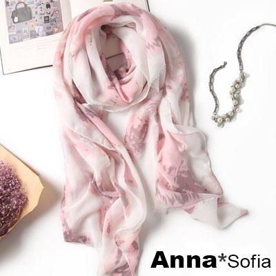AnnaSofia 柔和卉影金染毛邊 柔軟大披肩圍巾(粉系)