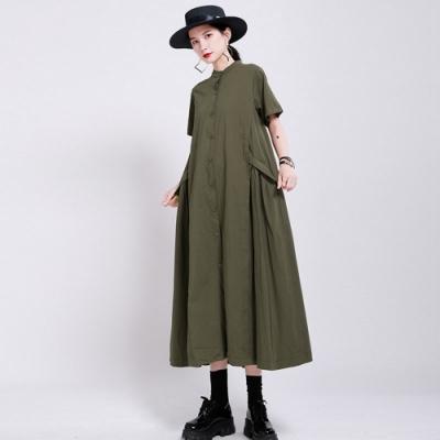 簡約日系素色棉麻不規則大裙襬洋裝-F(共二色)-CLORI