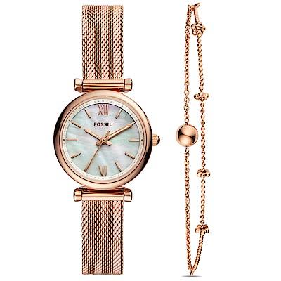 FOSSILCarlie優雅彩貝米蘭帶手錶手鍊套組(ES4443SET)-玫瑰金/29mm