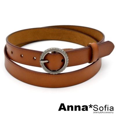 AnnaSofia 復古花釦波紋刻-二層牛皮腰帶皮帶(駝咖)