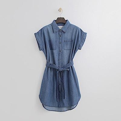 Hang Ten - 女裝 - 單寧腰綁帶洋裝-藍