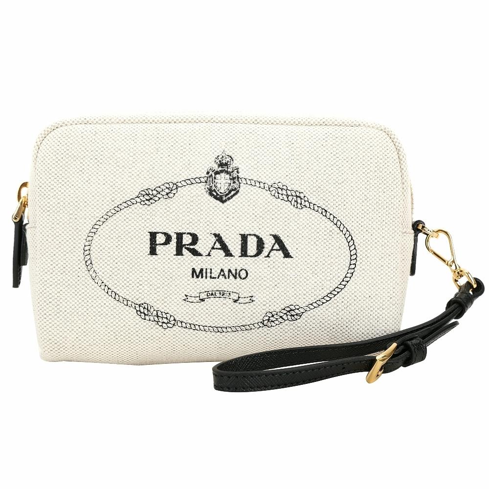 PRADA Mistolino 可拆腕帶字母徽標帆布手拿萬用包(黑色)