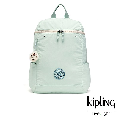 Kipling 清新薄荷綠梯形拉鍊後背包-BERNICE