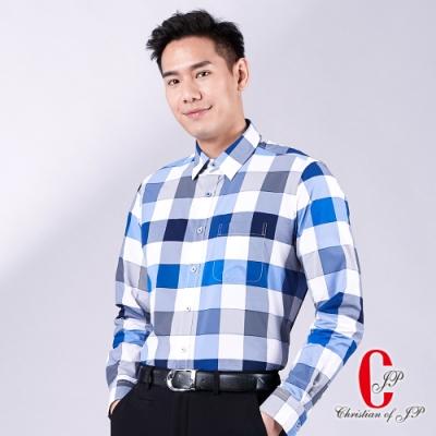 Christian 經典格紋彈性休閒襯衫_藍(RW706-55)