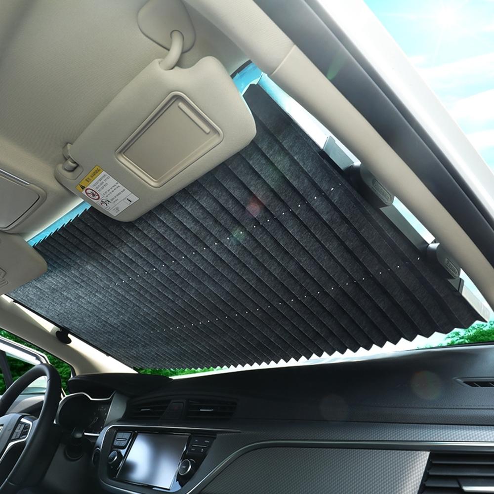 汽車前擋伸縮隔熱遮陽簾/遮陽板 雙向扣 車用防曬避光墊 70cm前檔