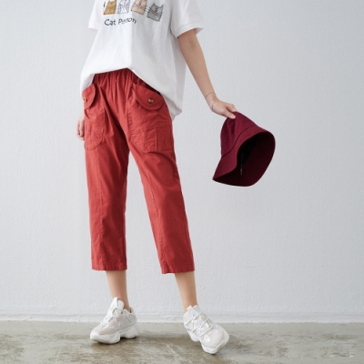 慢 生活 大口袋修飾百搭蘿蔔褲- 紅色