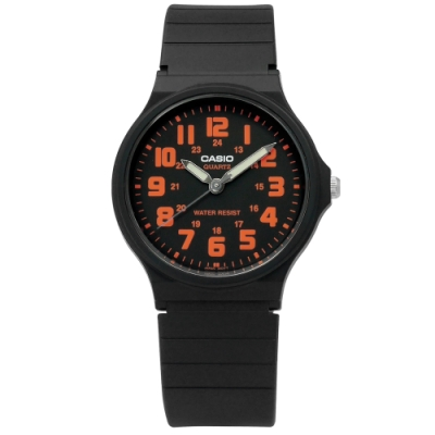 CASIO 卡西歐 休閒百搭橡膠腕錶-橘x黑/33mm