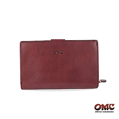 OMC 原皮系列-植鞣牛皮單拉鏈舌片壓扣8卡雙隔層零錢中夾-紫色