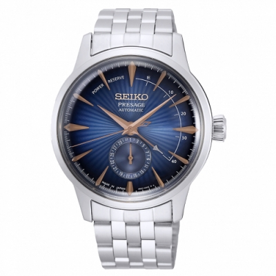 SEIKO 精工 Presage動力儲存顯示機械手錶SSA403J1-藍X銀/40.5mm