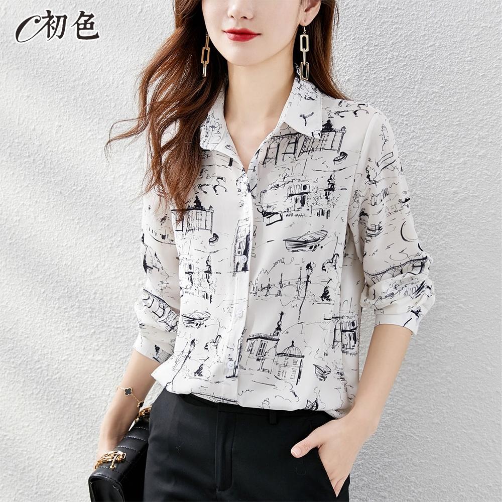 初色  素描風印花緞面襯衫-白色-(M-2XL可選)