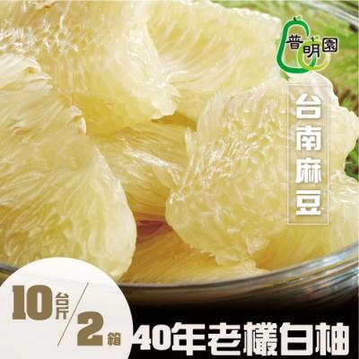 普明園‧台南麻豆40年大白柚10台斤/約4-6顆/箱,(共2箱)