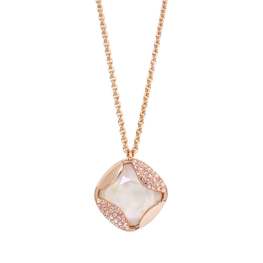 SWAROVSKI 施華洛世奇 璀璨米色水晶菱形造型玫瑰金項鍊