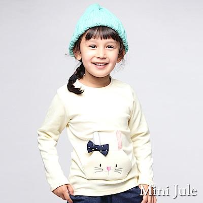 Mini Jule 上衣 立體蝴蝶結兔子前口袋長袖棉T(米黃)