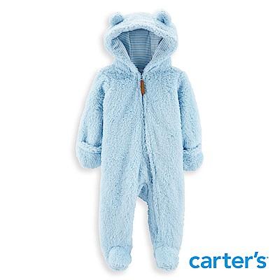 Carter's 毛茸茸連帽連身裝 (粉藍)