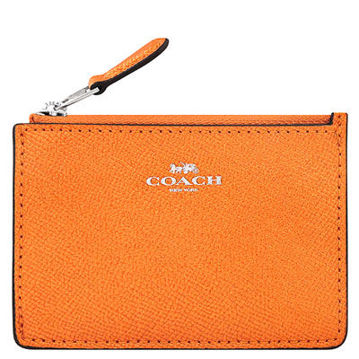 COACH 橙黃色光澤防刮皮革鑰匙零錢包