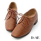 D+AF 英倫典範.拷克車線方頭綁帶牛津鞋*棕