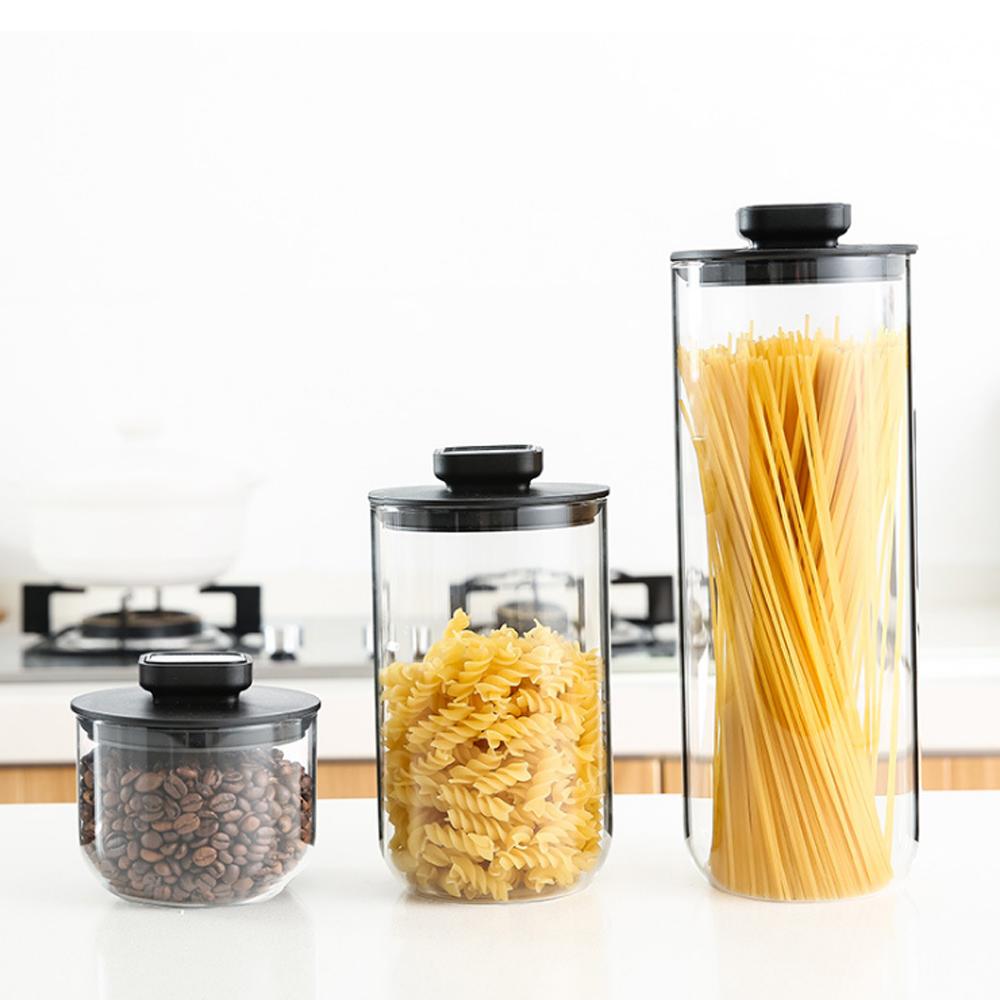 PUSH!廚房用品不鏽鋼玻璃密封罐雜糧儲物罐(三件套)D172