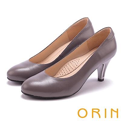 ORIN 典雅時尚女人 柔軟羊皮百搭素面高跟鞋-灰色