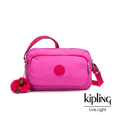 Kipling 糖果色調螢光粉素面多隔層斜背小包-MELINDA