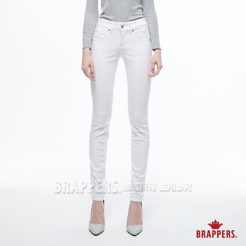 BRAPPERS 女款 LC-Cargo系列-中低腰彈性牛角鑲鑽窄管褲-白