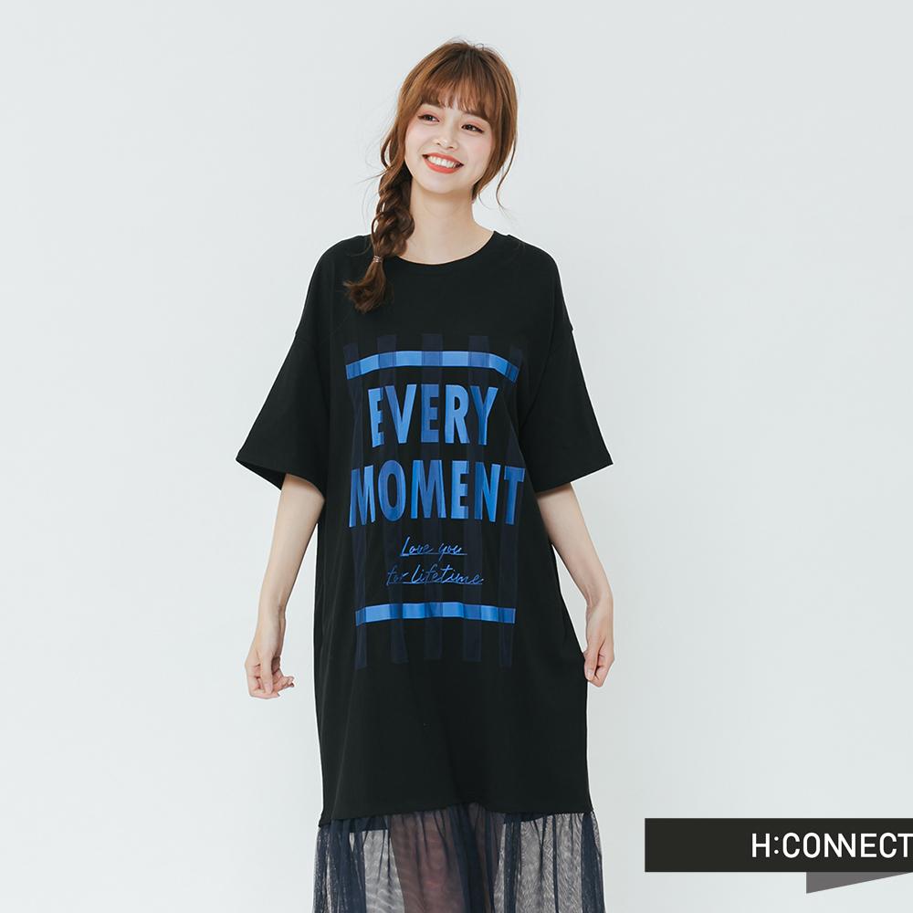 H:CONNECT 韓國品牌 女裝-網紗造型印字洋裝-黑