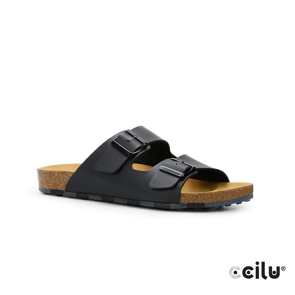 CCILU 雙帶皮革平底拖鞋-男款-801001001黑色