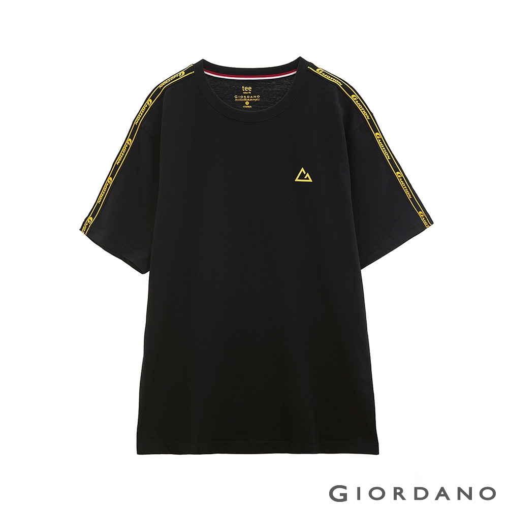 GIORDANO 男裝G-MOTION拼接織帶撞色短袖T恤 -02 標誌黑