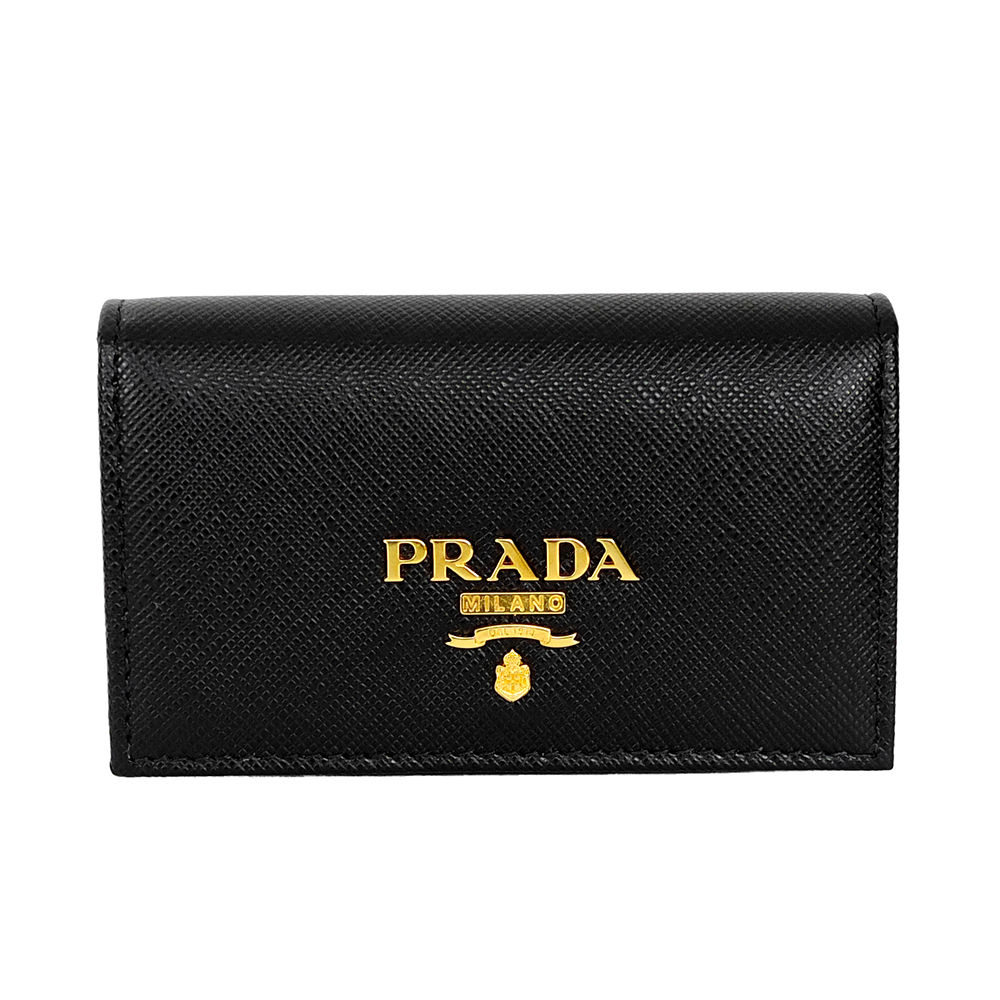 PRADA Saffiano經典LOGO字母防刮牛皮對開信用卡/名片夾 (黑色)PRADA