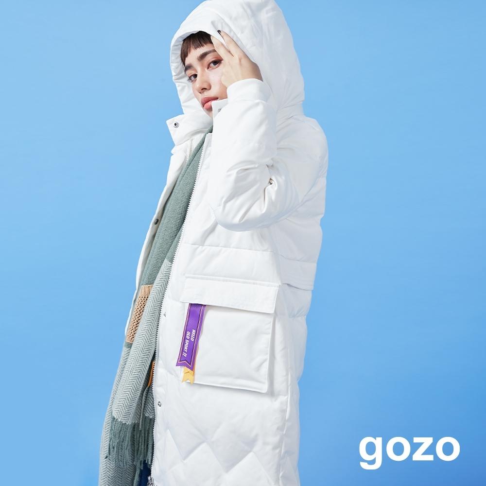 gozo 90%白鴨絨織帶造型長版連帽羽絨外套(二色) product image 1