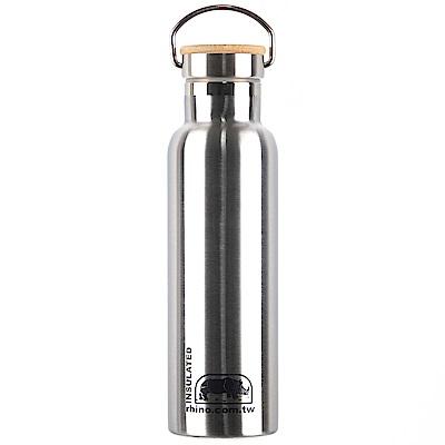犀牛RHINO Vacuum Bottle雙層不鏽鋼保溫水壺(竹片蓋)600ml