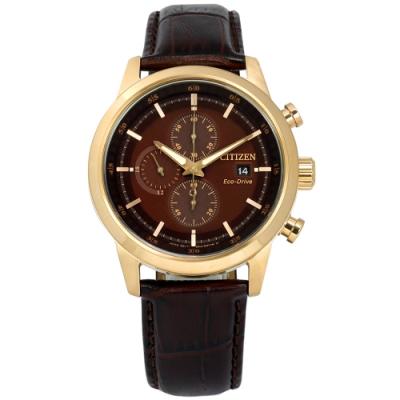 CITIZEN 亞洲限定款小牛皮壓紋手錶(CA0612-14X)-香檳金框x深褐/43mm