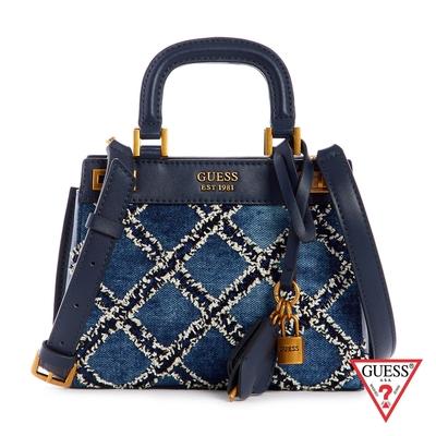 GUESS-女包-復古菱格金屬LOGO手提包-藍 原價2890