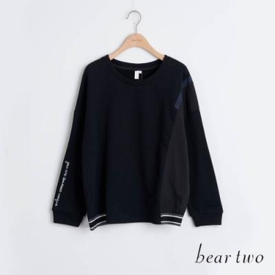 bear two- 袖口字母造型上衣 - 黑