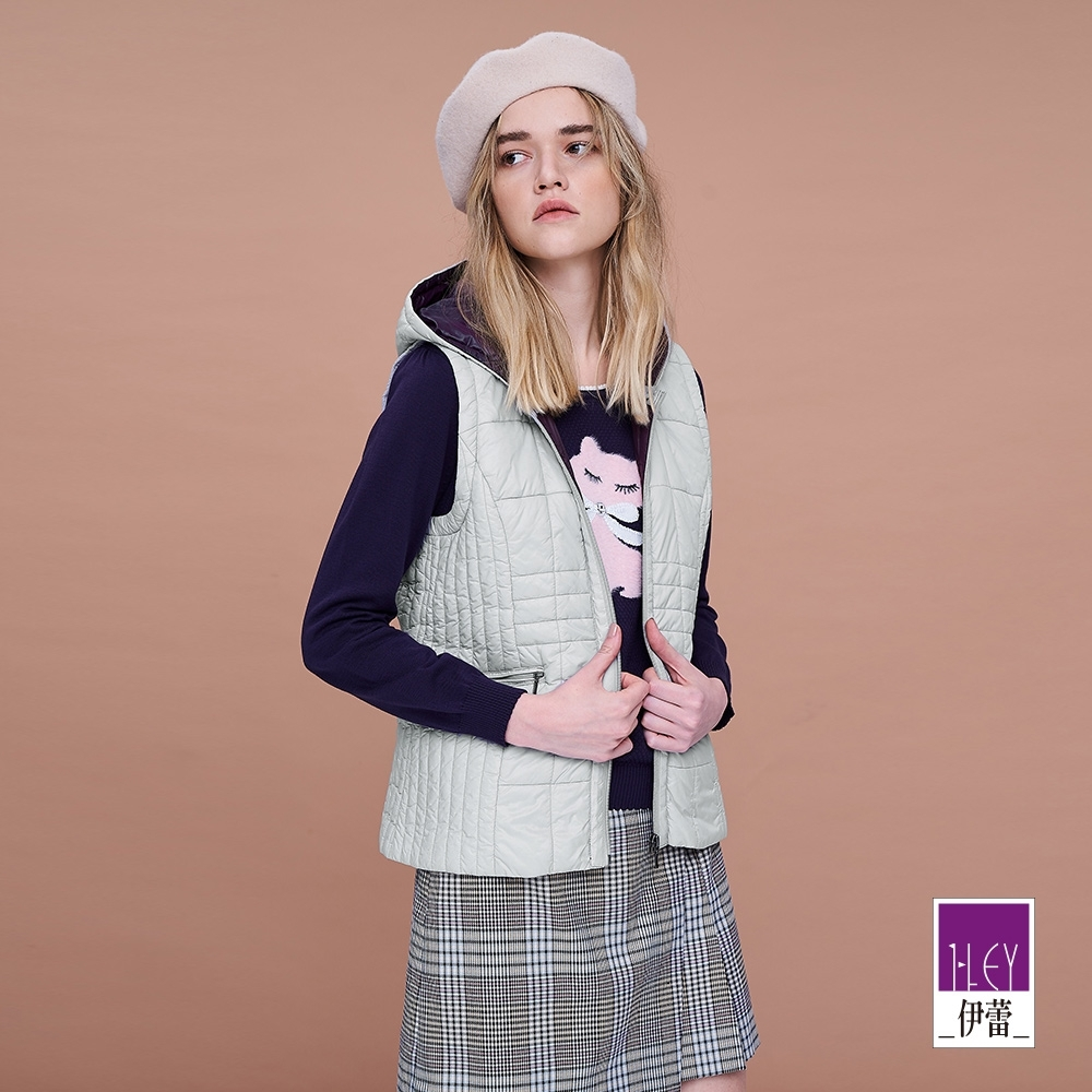 ILEY伊蕾 質感舒適輕量鋪棉連帽背心(灰)