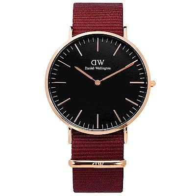 DW Daniel Wellington 經典尼龍手錶-黑x玫瑰金框x紅/40mm