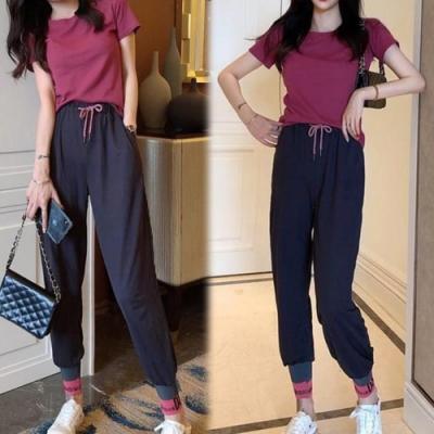 【韓國K.W.】(預購) 軟萌系俏皮素面運動套裝褲
