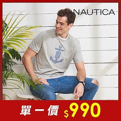 Nautica 牛仔船錨圖騰短袖T恤-灰
