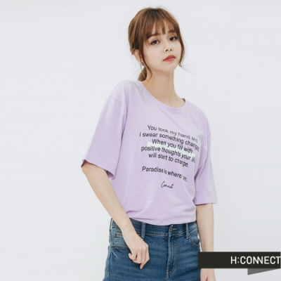 H:CONNECT 韓國品牌 女裝 -意境標語圓領T-shirt-紫(快)