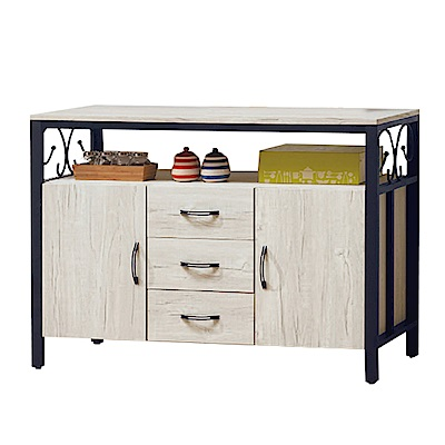 綠活居 波尼亞時尚4尺木紋餐櫃/收納櫃(二色可選)-121x41x82cm-免組