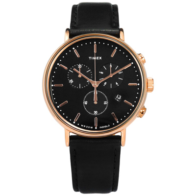 TIMEX 天美時 INDIGLO專利冷光照明日期真皮手錶-黑x玫瑰金框/41mm