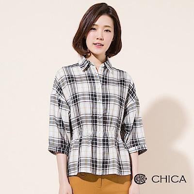 CHICA 自由街頭縮腰七分袖格紋襯衫(2色)